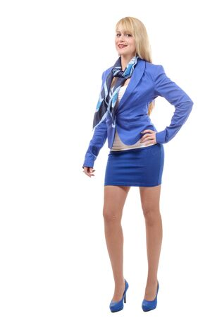 businesswoman suit: a beautiful young and blond businesswoman with blue suit Stock Photo