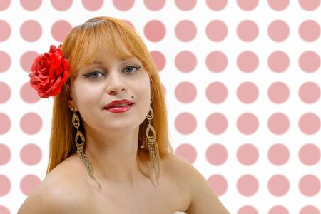 spanish woman: A beautiful young spanish woman is posing Stock Photo