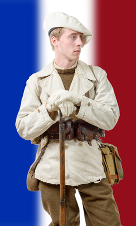 elites: a french mountain soldier with a uniform 40s Stock Photo