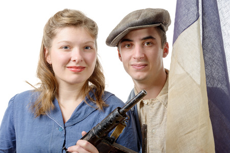 resistant: a young couple of french resistant to the liberation in 1944