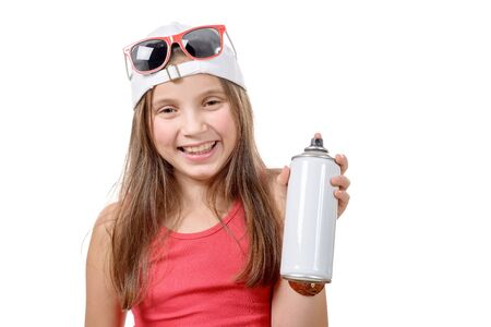 young girl with a spray can isolated on white background