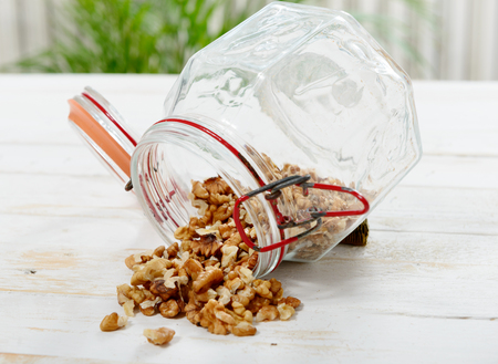 hulled: a glass jar with hulled nuts