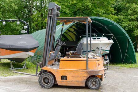 stacker: a forklift loader pallet stacker truck equipment