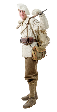 elites: french mountain infantry soldier during the war on white
