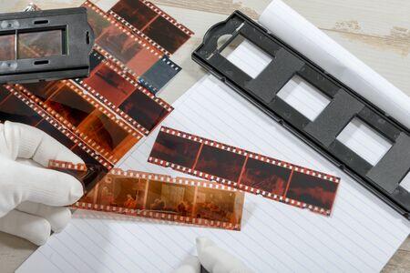 negative film: a technician scan a negative film