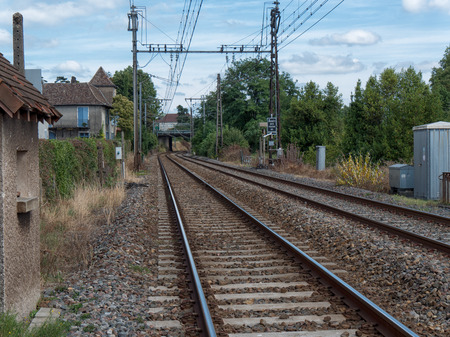 railway track: Railway track with Orthez village in France