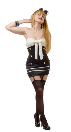 black stockings: a beautiful girl in pin-up style with black stockings Stock Photo