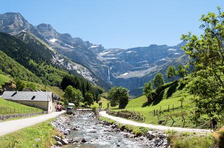 cirque: a road to Cirque de Gavarnie, Hautes-Pyrenees, France