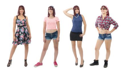 pessoas: Uma linda garota com roupas diferentes, no fundo branco Imagens