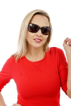 attractive  female: pretty middle aged woman in red dress