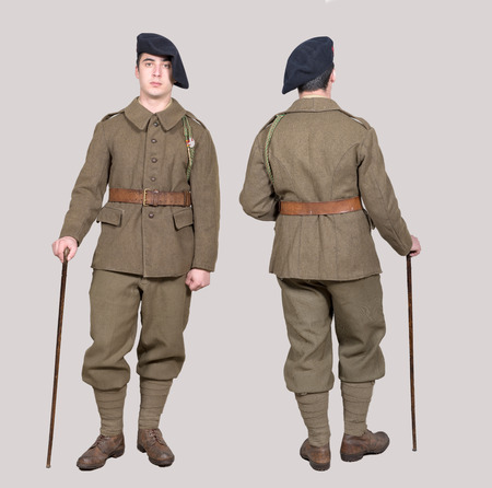 a french soldier in 1940s uniform, front and back view Stock Photo
