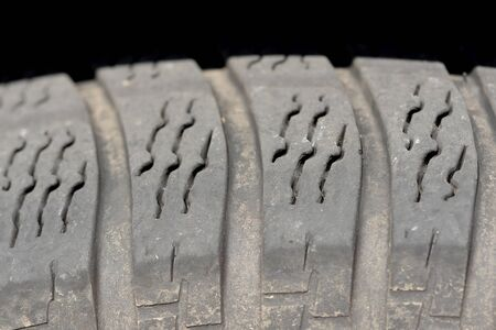 traction: a close-up of a used tire