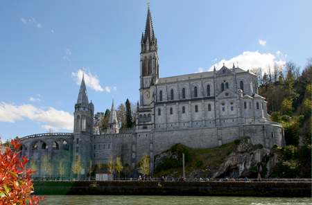 a view of the cathedral in Lourdes, France