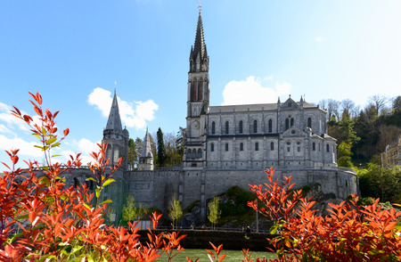 a view of the cathedral in Lourdes, Pyrenees, France