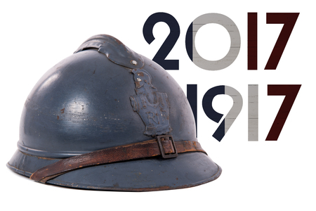 a french military helmet of the First World War isolated on white background Stock Photo