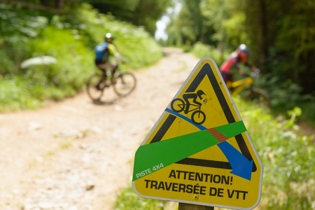 a signposting for mountain biking in the path