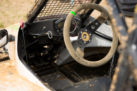 a steering wheel of a kartcross buggy Stock Photo