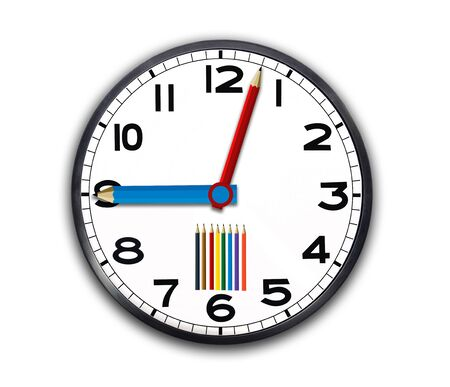 a clock with pencils, back to school concept Stock Photo