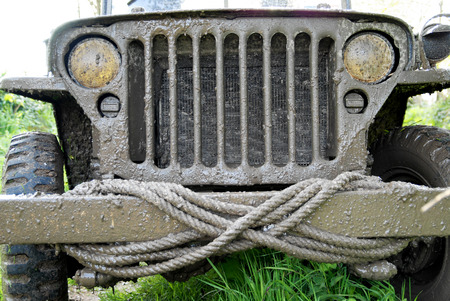 a close-up of the grille of a military vehicle