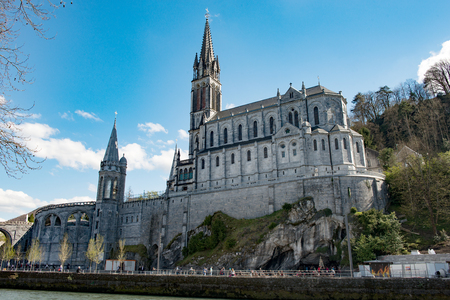 a view of the Basilica of Our Lady of Lourdes Stock Photo