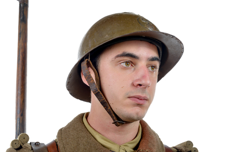 a  french soldier 1940 isolated on the white background