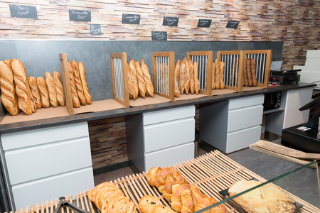 the french breads in a bakery market