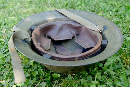 world war ii: the wwii british helment on the grass