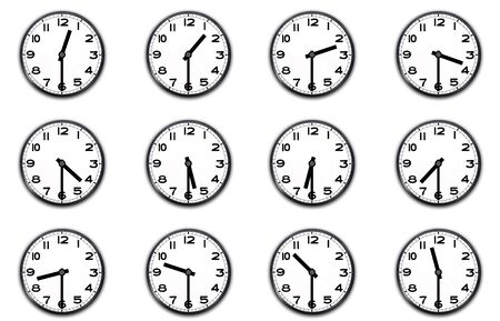 clocks indicating the half hour on white