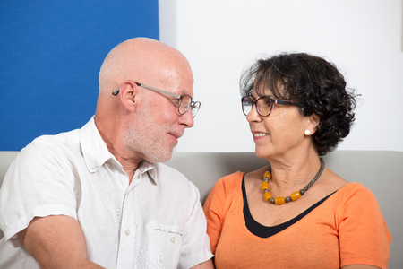 an happy mature couple in love, in their home