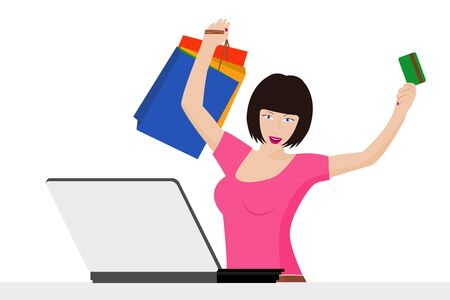 a fashion girl buying online with credit card and shopping bags