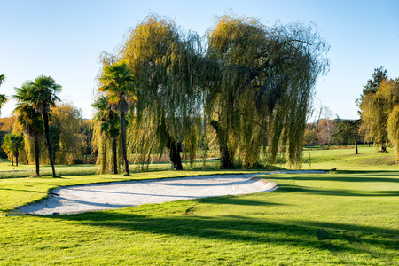 A bunker on the golf course with trees Stock Photo
