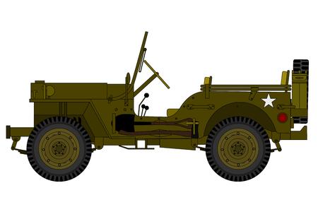 een vintage militaire auto geïsoleerd op de witte achtergrond