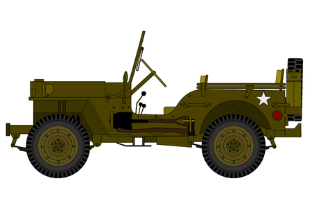 a vintage military car isolated on the white background
