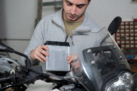 an installation of the motorbike battery
