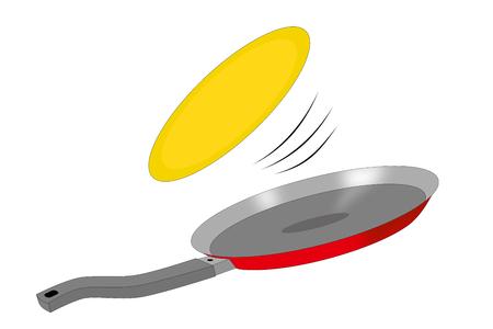 flipping pancake isolated on the white background