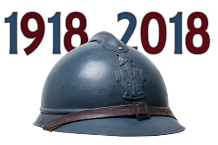 a french military helmet of the First World War isolated on white background Stockfoto