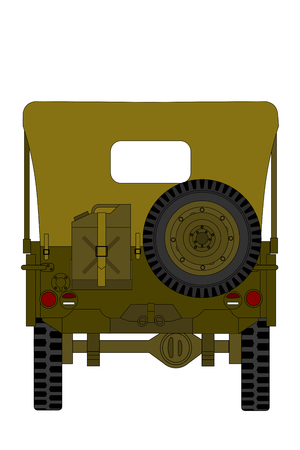 a vintage military car isolated on the white background, back view Фото со стока