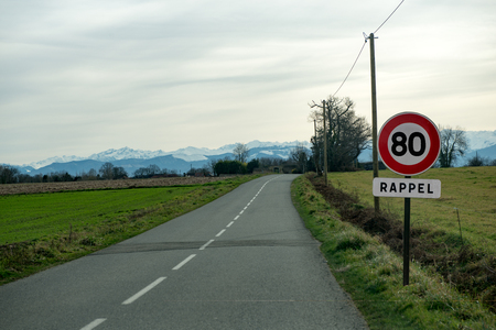 a limit speed at 80 km/h on the french  roads Stock Photo - 94450838