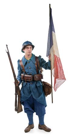 Franse soldaat 1914 1918 geïsoleerd op een witte achtergrond