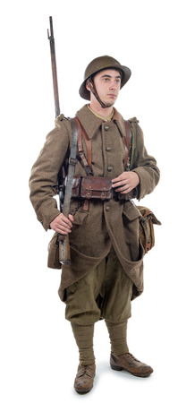 young french soldier 1940 isolated on the white background