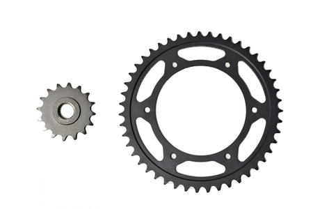 pinion and ring gear for chain motorcycle isolated on white Archivio Fotografico