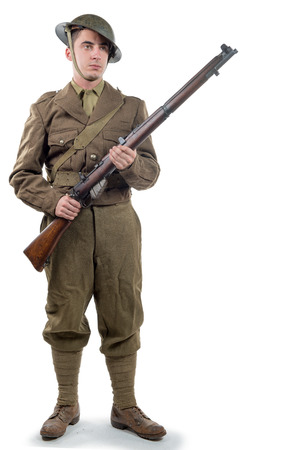 WW1 British Army Soldier from France 1918, isolated on white background Stock Photo