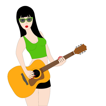 a sexy young woman playing acoustic guitar, on white Stock Photo