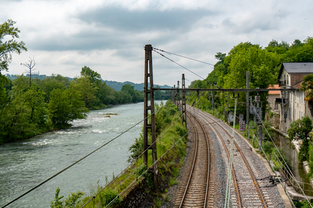 a view of the Gave de Pau and the railway line Standard-Bild