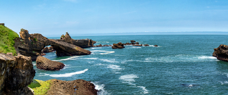 a rock of the Virgin, Biarritz city, France Stock Photo