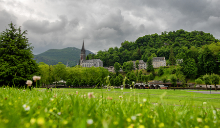 a view of the basilica of Lourdes, France Stock Photo