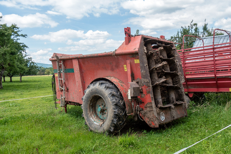 a machine for spreading manure in the fields