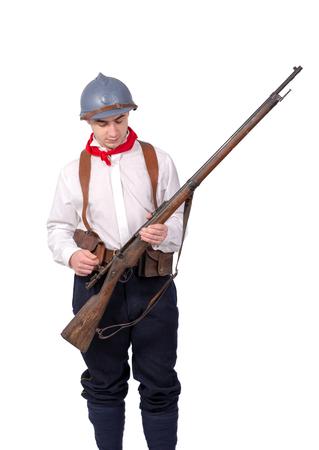 a retro french patriot on the white background Stock Photo