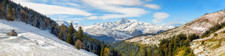 a panorama of french pyrenees mountains with Pic du Midi de Bigorre in background Stock Photo