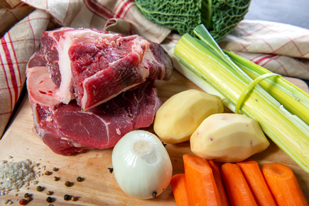a meat and vegetables for preparation of pot au feu